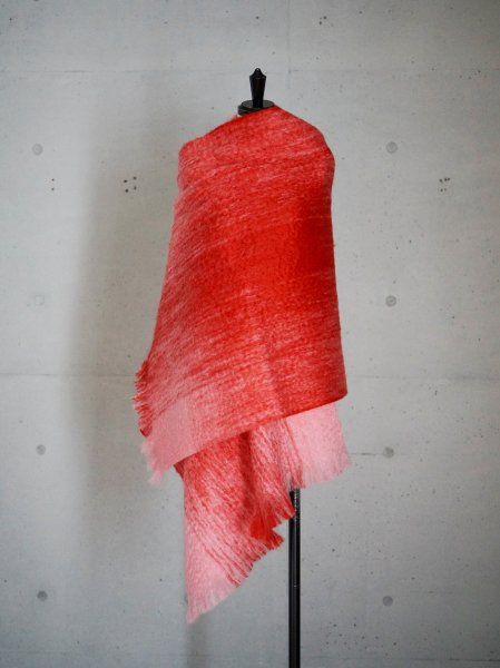FUMIKA_UCHIDA MOHAIR SHAGGY CHECK PATARN STOLE COL.PINK/RED