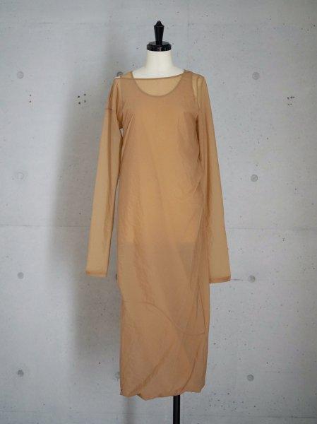 FUMIKA_UCHIDA STRETCH TAFFETA / LAYERED DRESS / BEIGE