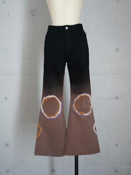 FUMIKA_UCHIDA TIE-DYE CROPPED FLARE PANTS / BLACK PURPLE