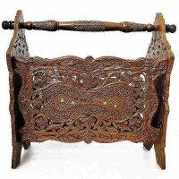 アジアンスタイル手彫りマガジンラック