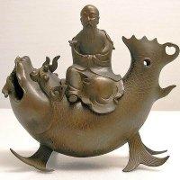 亀文堂 鯉仙人 金属製香炉
