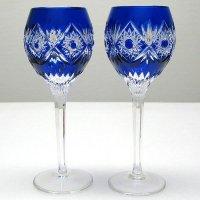 青切子・ペアワイングラス