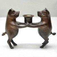 豚の燭台(ろうそく台・キャンドルスタンド)