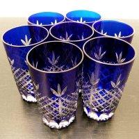 切子グラス・青・7個セット
