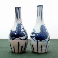 レトロ・手描き・染付・一輪挿し花瓶