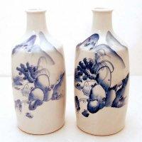 手描き・染付・花瓶・2個セット