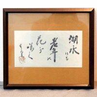 小泉香雨・書画・額入『湖水にも老年の花が咲く』