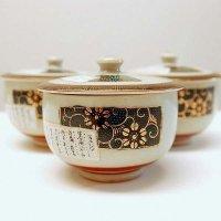 九谷焼・蓋付茶碗・三客セット