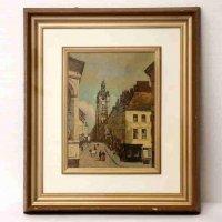 コロー・複製・額入『ドウアイの物見やぐら』Jean Baptiste Corot - Le beffroi de Douai