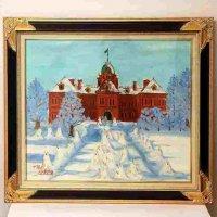 MOTOKI MAYAMA・油絵・額入「冬の北海道道庁」1985年