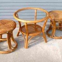 籐(ラタン)・テーブル・チェアー・セット