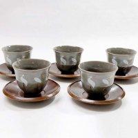 龍峯窯・三洋陶器・茶卓付煎茶揃