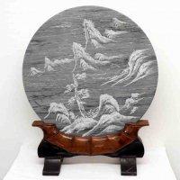 円型・石板・山水画・飾り