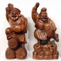 木製・恵比寿・大黒・像・置物