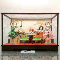 雛人形・ひな人形・親王飾り「雛扇」ガラスケース付