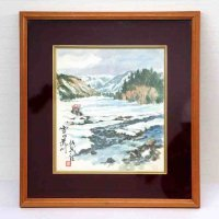 色紙・水彩画・額入「雪の荒川」