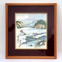 色紙・水彩画・額入『雪の荒川』