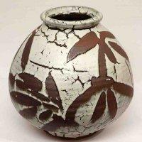 益子焼・榎田製陶所・榎田勝彦・卯の斑釉笹葉花瓶