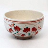 京焼・尾形周平・宗赤絵・花文・茶碗