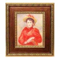 複製絵画・額入・ルノワール『赤い服の女』