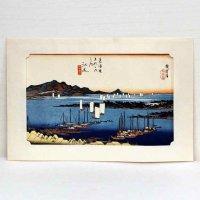 東海道五十三次・江尻・大判錦絵・安藤広重・複製印刷
