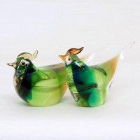 ガラス製・鳥置物・2個セット