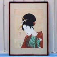 喜多川歌麿・浮世絵・内山板・『団扇を持つ女(団扇を持つ美人)』