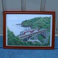 色鉛筆画・額入・電車と橋