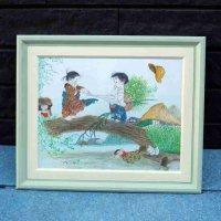 色鉛筆画・額入・地蔵と子犬と子供たち