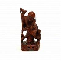 木彫・置物・老人と子供