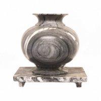 大理石・花器・花瓶・丸形・壺型・花瓶台セット
