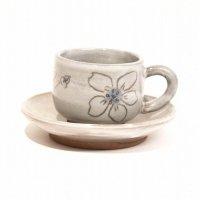 作家物・陶器製・コーヒーカップ・ソーサーセット