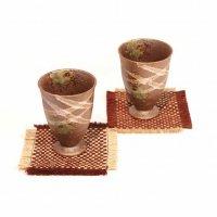 陶器製・グラス・タンブラー・2個セット・コースター付