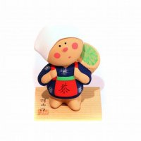 河村蜻山・陶人形・茶摘み・台付