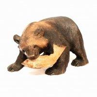 置物・木製・木彫り熊・鮭