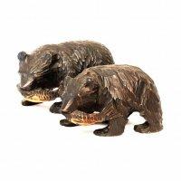 置物・木製・木彫り熊・夫婦・2体セット
