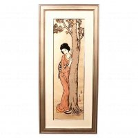 竹久夢二・版画・額入・大判・194/350『春』