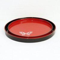 丸盆・赤・黒・2枚セット・蝶柄