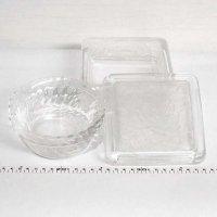 ガラス食器・ガラス小鉢・蓋付き・3点セット