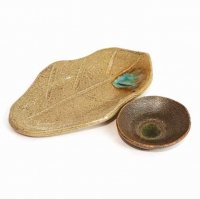 趣味の器・リーフ型・皿・小鉢・2点セット