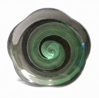 作家物・大皿・飾り皿・渦巻き・緑・花形