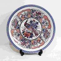 大皿・絵皿・飾り皿絵皿・・染付・花鳥・孔雀