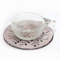 ガラス製・ティーカップ・ソーサー