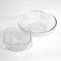 ガラス製・小鉢・深皿・丸皿・2点セット