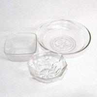 ガラス製・ガラス器・中鉢・大鉢・深皿・盛鉢・八角鉢・3点セット