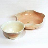 萩焼・椿窯・天鵬山・桜・中鉢・茶碗・2点セット