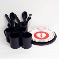 プラスチック製・マグカップ・フォーク・ナイフ・スプーン・プレート皿・まとめ売り・16点セット