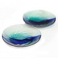 ガラス製・大皿・ブルー・3枚セット
