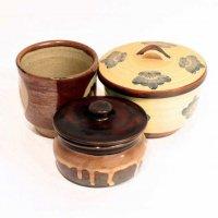 陶器製・湯呑・蓋付き・蒸し碗・かめ・丸壺・3点セット