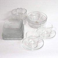 ガラス製・ティーカップ・ソーサー・ボウル・小鉢・皿・まとめ売り・7種ペアセット
